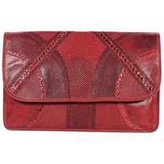Red Vintage Carlos Falchi Exotic Skin Clutch