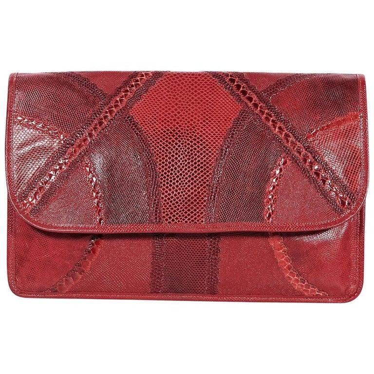 Red Vintage Carlos Falchi Exotic Skin Clutch