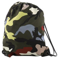 Valentino Drawstring Backpack Camo Nylon Medium