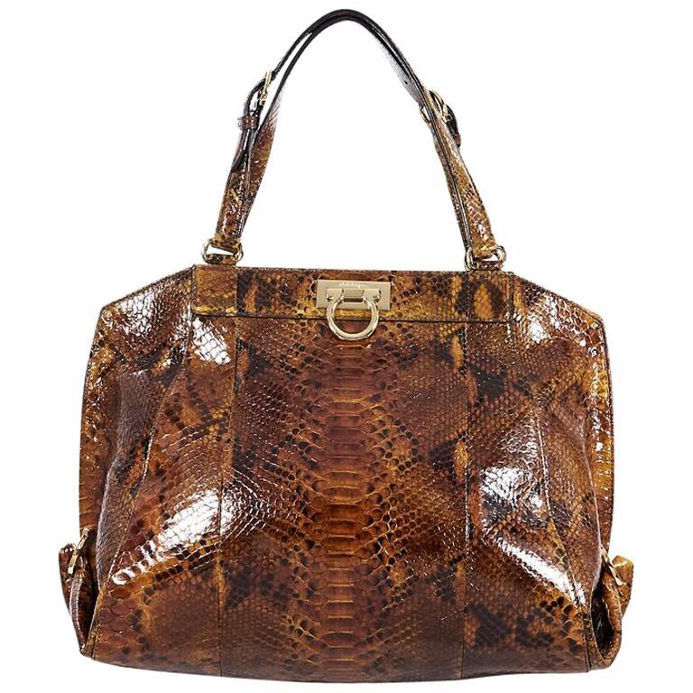 f040a50c76 Salvatore Ferragamo Brown Snakeskin Shoulder Bag For Sale at 1stdibs