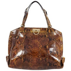 Salvatore Ferragamo Brown Snakeskin Shoulder Bag