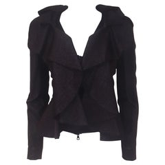 Valentino Black Wool & Silk Ruffle Jacket With Lambskin Leather Sleeves