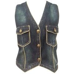 Chanel Denim Vest with Gold Tone Cord Trim