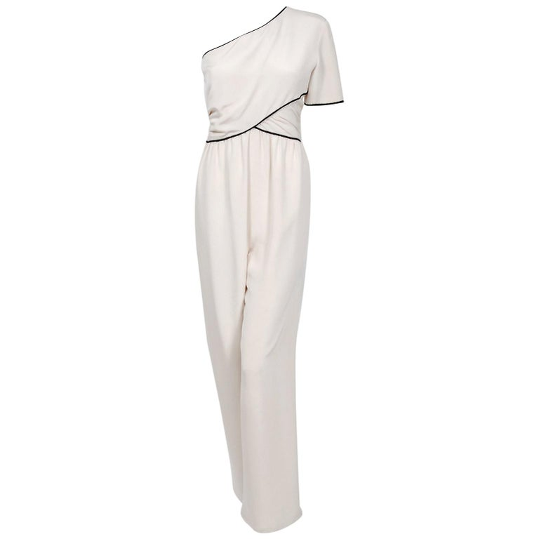 1979 Bill Blass Couture Ivory Silk One-Shoulder Asymmetric Ruched Jumpsuit For Sale