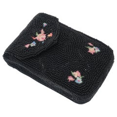 1950's French Black Beaded & Embroidered Cigarette Box Case
