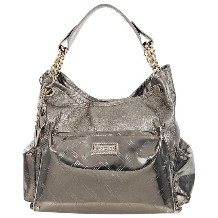 Metallic Copper Versace Leather Hobo Bag