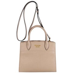 Prada Light Beige Mini Bibliotheque Saffiano Leather Satchel