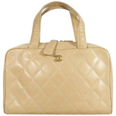 Tan Vintage Chanel Quilted Leather Handbag