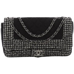 Chanel Flap with Chain Bag Quilted Tweed and Jersey Jumbo
