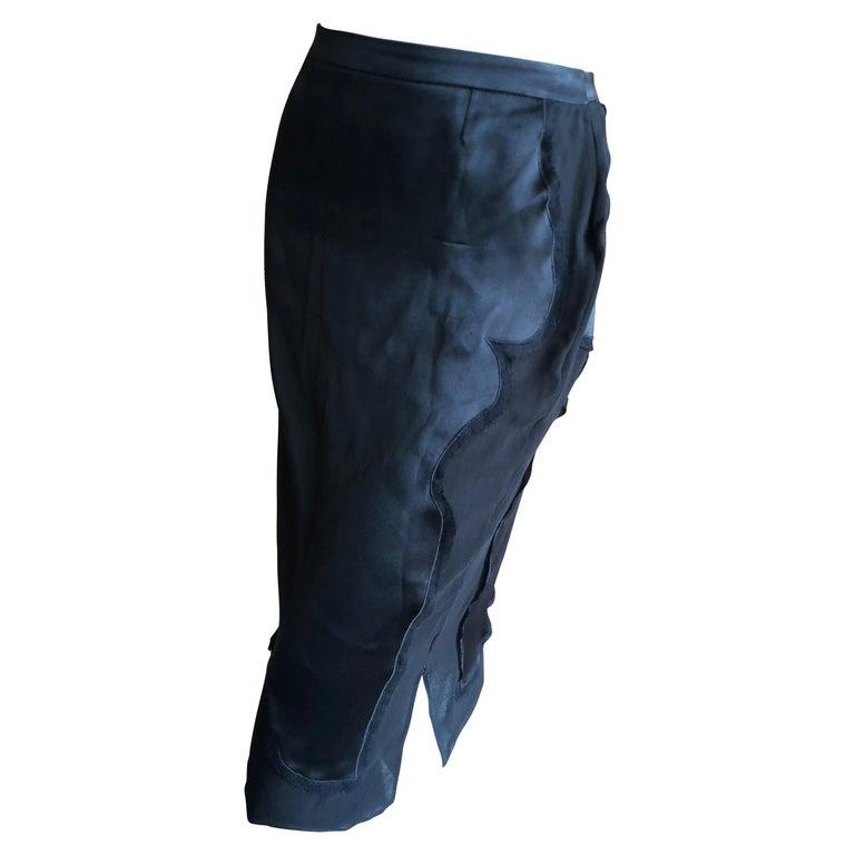 Yves Saint Laurent by Tom Ford 2004 Black Silk Skirt Size 40