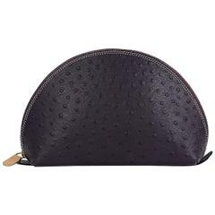 Dark Purple Max Tamara Ostrich Leather Pouch
