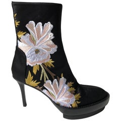 Ann Demeulemeester Black Floral Satin Boots
