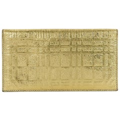 Metallic Gold Burberry London Leather Folding Wallet