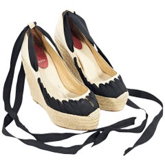 Beige & Black Christian Louboutin Espadrille Wedge Sandals