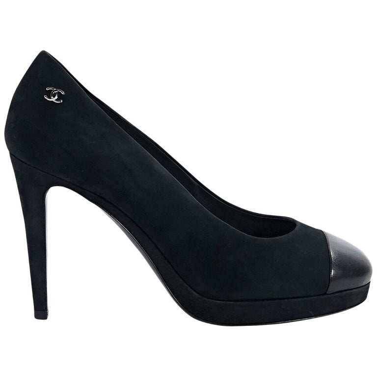 Chanel Black Suede and Leather Platform Pumps