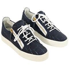 Navy Blue Giuseppe Zanotti Embossed Sneakers