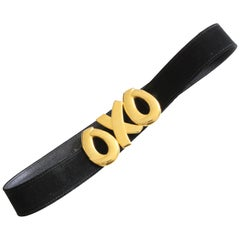 Paloma Picasso Massive OXO Gold Metal Buckle & Black Suede Belt Sz M 75cm 80s