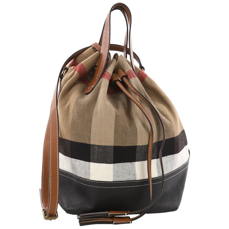 d2b479de8cd2 Burberry Heston Bucket Bag House Check Canvas with Leather Medium For Sale