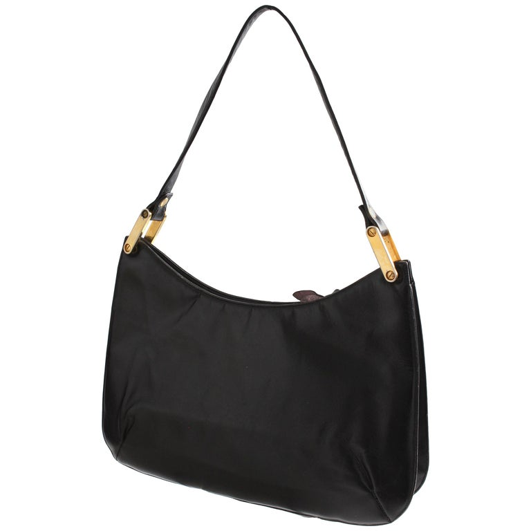 Rare Saks Fifth Avenue Shoulder Bag Jackie O Style Black Box Leather 70s For