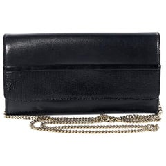 Lanvin Black Leather Wallet-On-A-Chain Bag