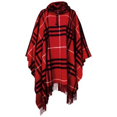 Burberry London Red/Black Nova Tartan Plaid Fringe Cowlneck Poncho One