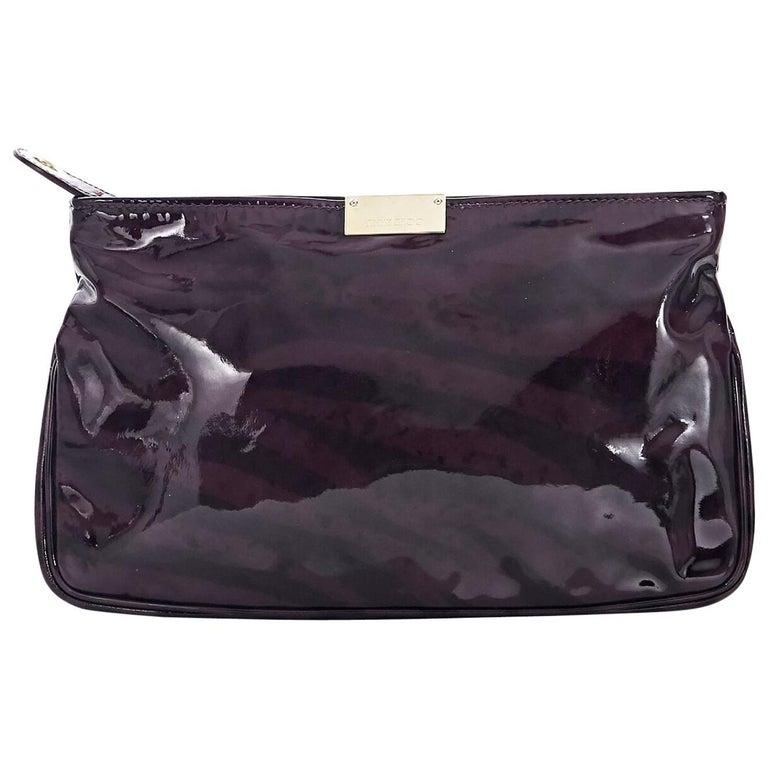 Purple & Black Jimmy Choo Patent Leather Clutch