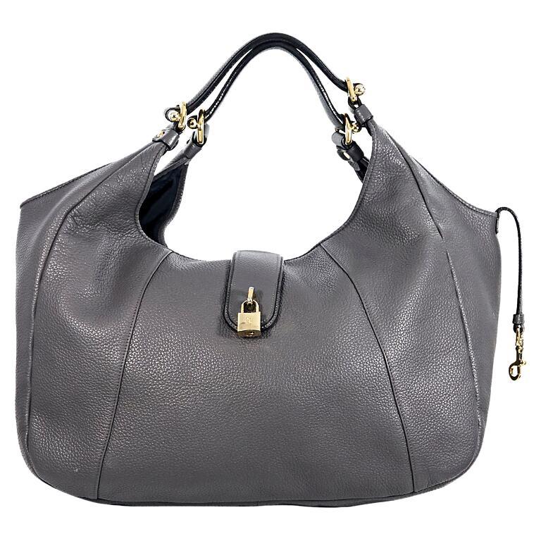 Loewe Large Grey Leather Hobo Bag