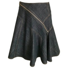 ALAIA Denim Zipper  Skirt