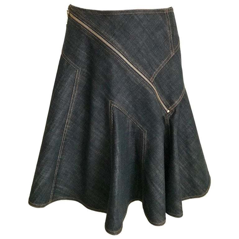 ALAIA Denim Zipper  Skirt For Sale