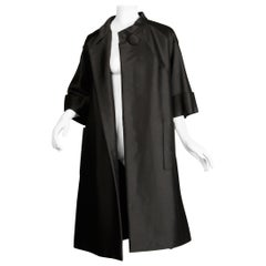 1960s Armand Hallenstein Vintage Black Silk + Wool Opera Coat