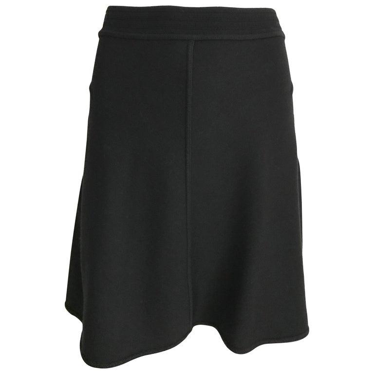Vintage ALAIA Black Wool Knit Flare Skirt For Sale
