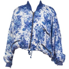 1980s English Floral Printed Bomber Jacket
