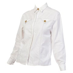 1990S Gianni Versace White Cotton Shirt With Gold Medusa Buttons & Contrast Sti