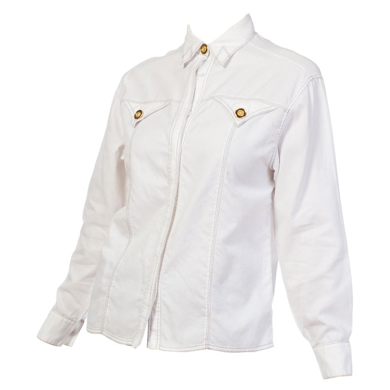1990s Gianni Versace Couture White Cotton Medusa Button Shirt