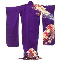 1970S Royal Purple & Gold Japanese Silk  Kimono