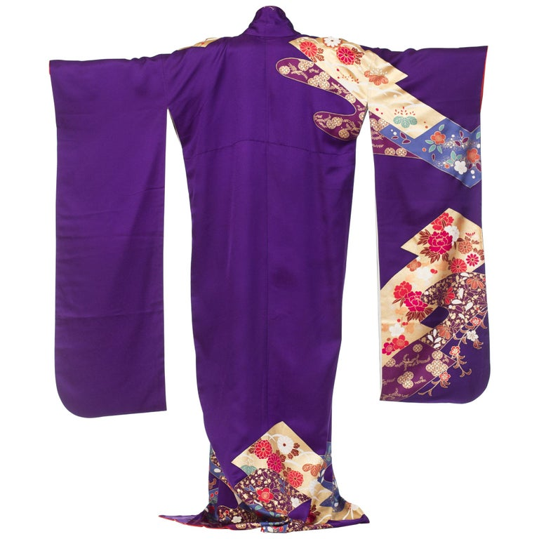 1970S Royal Purple & Gold Japanese Silk  Kimono For Sale