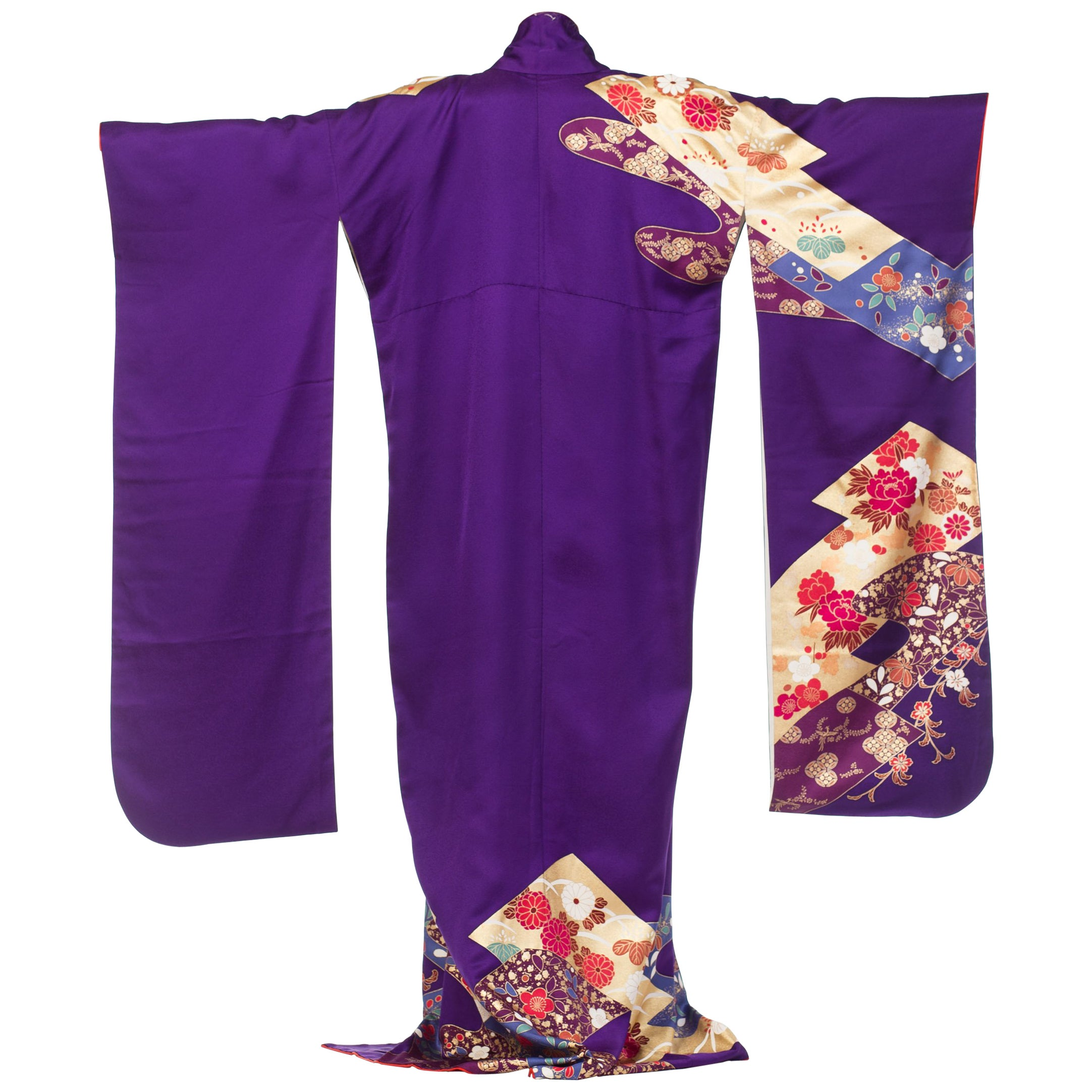 1970S Royal Purple & Gold Japanese Silk  Kimono