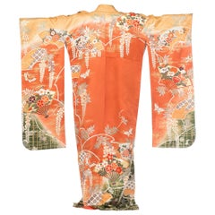 Abundant Floral Japanese Kimono With Wisteria and Fans