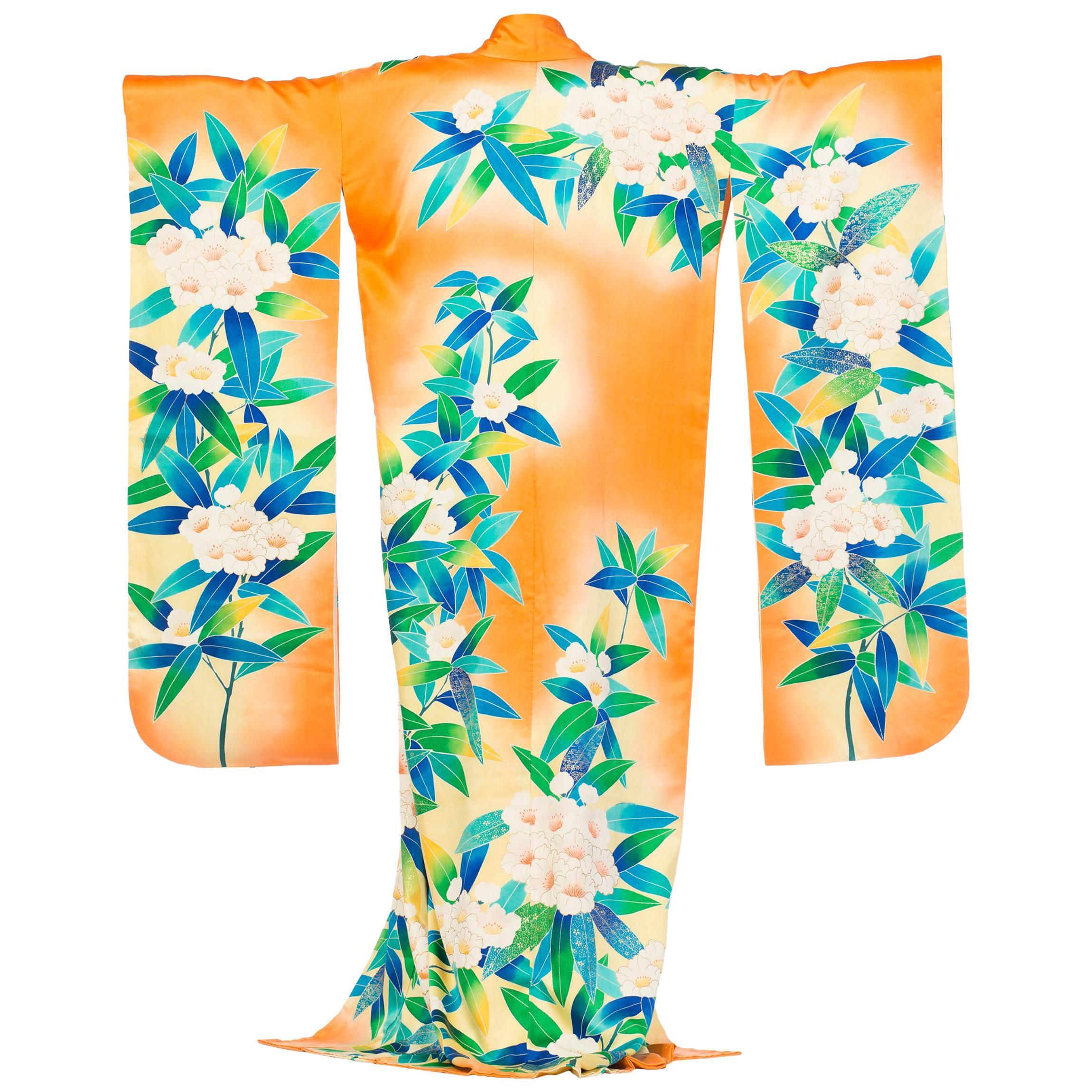 1970S Hand Printed Tropical Floral Japanese Silk Kimono