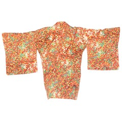 1960s Floral Japanese Kimono With Crystals Strap