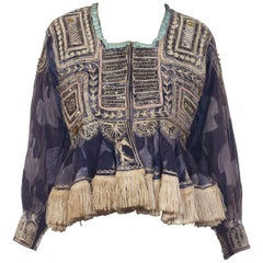 Antique Bohemian Beaded & Embroidered Silk Velvet Jacket