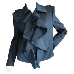 Yves Saint Laurent by Tom Ford Black Wool Ruffle Front Jacket, Fall 2004