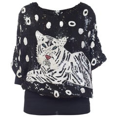 1980s Oversized Tiger Beaded Sequin Pullover Top