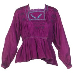 Vintage Bohemian Hand Embroidered Purple Taffeta Folk Blouse