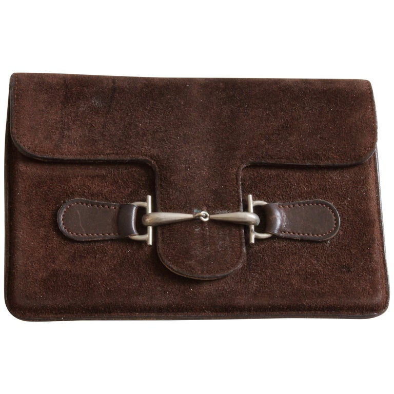 283cbeac008 Rare Gucci Suede Leather Travel Pouch or Wallet with Metal Frame Vintage  60s For Sale