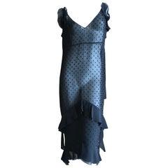 Christian Dior by John Galliano Sheer Black Silk Dress with Jet Bead Fringe