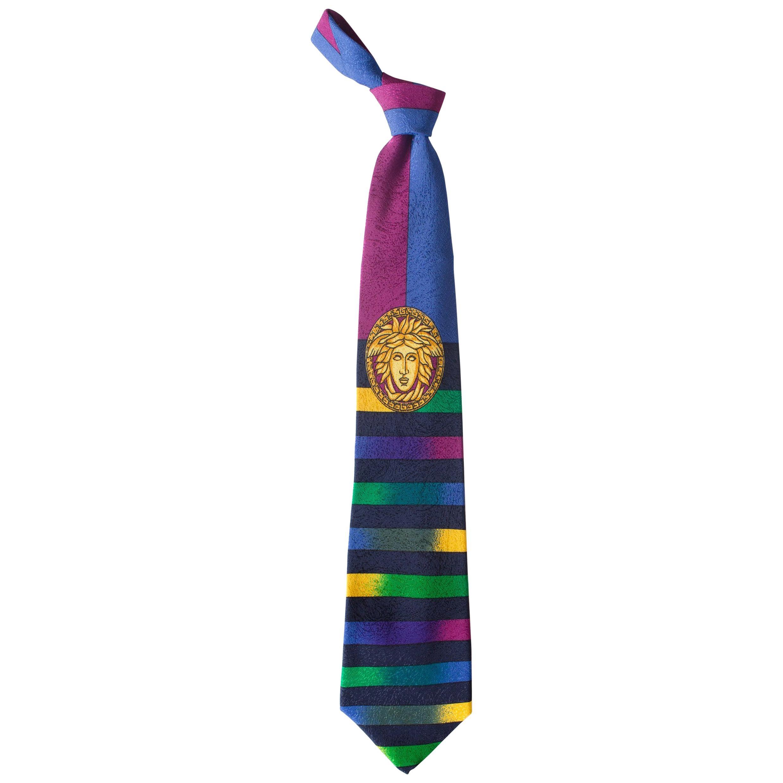 1990S GIANNI VERSACE Gold Medusa Ombre Stripe Silk Mens Tie