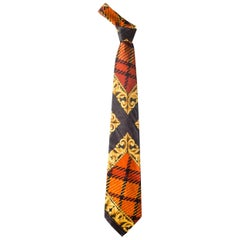 1990s Gianni Versace Baroque & Plaid Printed Silk Tie