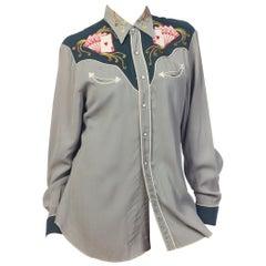1950s Men's Embroidered Rayon Gabardine Western Gambler Shirt