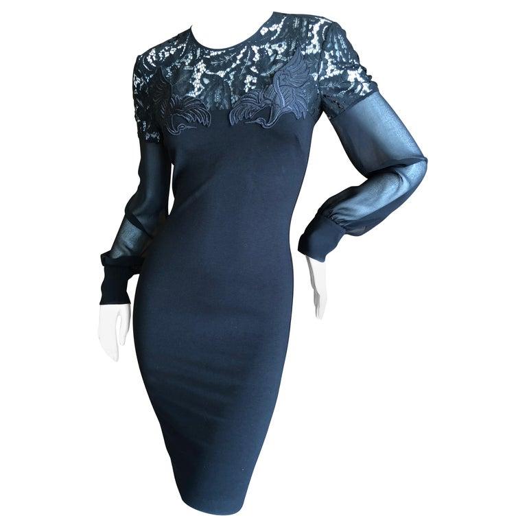 Roberto Cavalli Just Cavalli Vintage Black stretch Dress with Embroidered Cranes